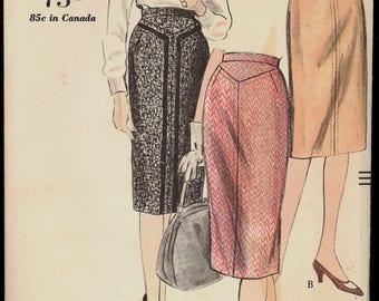 Uncut 1960s Waist 24 No Side Seams Slim Skirt Vogue 5173 Vintage Sewing Pattern 60s Mid Century