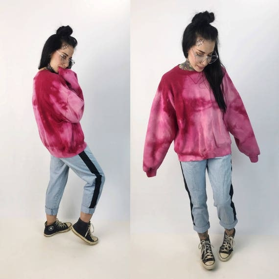 Hot Pink Tie Dye Pull Over Sweatshirt Large - Crew Neck VTG Two Tone Bleached Pull Over - Cotton Mens Womens Baggy Jumper Sweater Grunge
