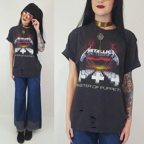 Distressed Metallica Tour T-Shirt - Vintage Style Band Shirt Medium Large - Grunge Metal Band Tee Metallica Master of Puppets Shirt Black