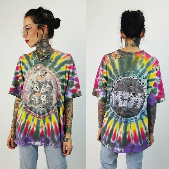 90's Kiss Tour Tee XL Holey Unisex Alive/ Worldwide Concert T-shirt- Tiedye Rainbow Distressed Shredded Tshirt - Grunge Rock N Roll