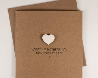 Happy 1st Mothers Day from your Little Boy Card with Wooden magnetic Love Heart Keepsake // From Son // First Mothers Day