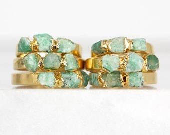 raw emerald ring   may birthstone ring   genuine emerald birthstone   raw emerald jewelry   may birthstone jewelry   emerald crystal ring