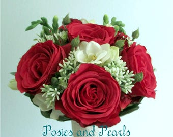 """Red Rose Bouquet with White Freesia, Seeded Boxwood, and Lace Stem Wrap, Silk Flower Bridal Bouquet & Boutonniere, """"Charlotte"""""""