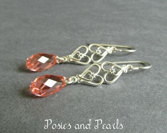 """Coral Crystal Briolette Earrings, Pink Swarovski Crystals, Sterling Silver Double Filigree Hearts, Bridal, Wedding Jewelry, """"Affection"""""""