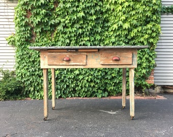 zinc top kitchen work table antique work table metal top bakery table chippy
