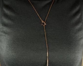 Rose Gold Y necklace. Rose gold filled necklace. Toggle necklace. Lariat Necklace. Long Necklace
