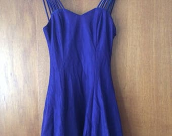 Vintage Women's All That Jazz Blue Turquoise Mesh Shimmer Strappy Dress 5/6