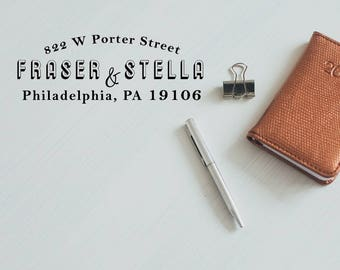 Modern Address Stamp, Rubber Stamp Return Address, Envelope Stamp, Wedding Stamp, Self Inking Mail Stamp - CA759