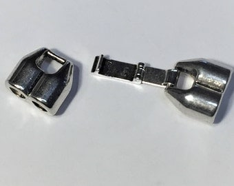 NEW 5mm  Double Barrel Fold Over Latch Clasp, Silver for Round Leather Bracelets, Silver Plated Pewter, 5mm round cords,  4.5mm round cords