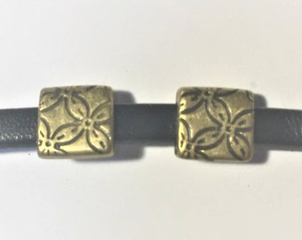 2 5mm flat leather brass flower slides for bracelet, necklace, jewelry finding supplies