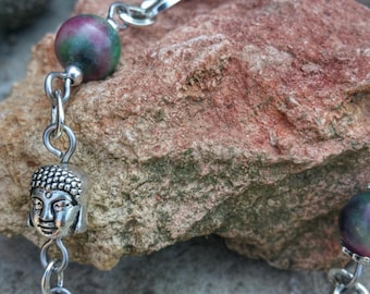 Bracelet antique silver, tourmaline, stone of release