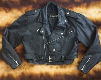 Vintage 90's Cropped Leather Motorcycle Jacket