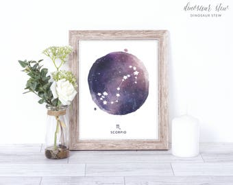 scorpio print - watercolor constellation art print - scorpio gift idea with color options - 8x10