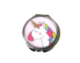 UNICORN MIRROR - UNICORN pocket mirror - unicorn gift - unicorn accessory - Ideal for party bag gift, children or best friend - kawai