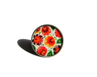 Bohemian Ring - Flower Ring - Boho Chic - Summer Ring - floral Jewelry - flower ring - Handmade - Womens Gift, Adjustable Ring