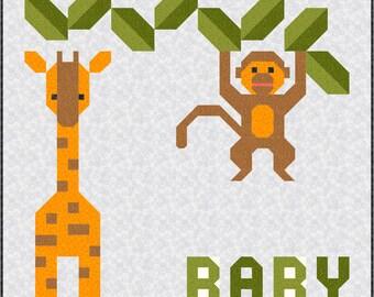 DIY Jungle Baby Quilt Kit and Pattern, Bedding Crib Blanket Quilting Patchwork Project Baby Toddler Kit safari animal giraffe monkey