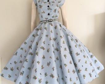 RARE NOS Novelty Print 50s 60s Cotton Party Dress / Medium / Deadstock