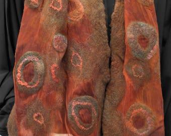 Nuno felt scarf, brown orange. Silk, wool, felted shawl, handmade for women