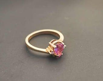 14K Yellow Gold  - Pink Pear Sapphire & Accent Diamond Ring, Natural Sapphire 3/4 Ct