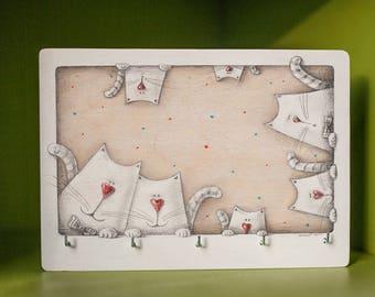 Wall Key Holder CUTE WHITE KITTENS, Family Key Organizer, Art, Wall Decor, Key Hanger, Housewarming Gift, Valentine's gift, Love Gift