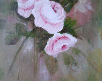 small vintage roses cluster, 8 x 10 acrylic