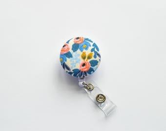 Blue Les Fleurs Badge Reel