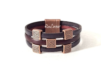 Denim blue and copper accented leather cuff