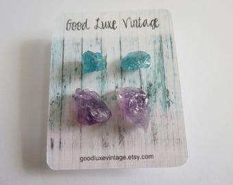 Crystal Earring Set Studs Raw Amethyst Blue Apatite Birthday Gift Natural Druzy Gemstones Nickel Free Boho