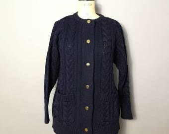 Navy cable cardigan / 90s navy cardigan wool with gold buttons / oversized fit cardigan / blue cable knit / nautical style / real wool cardi