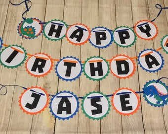 Dinosaur Happy Birthday Banner - Customizable