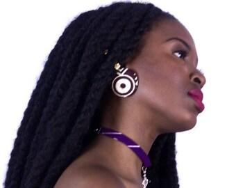 INI-IMA purple best friend jewelry set chain african print statement choker necklace holiday gift