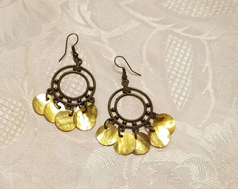 Antique brass chandelier earrings with Yellow mussel shells