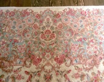 Persian Rug Wool Karastan Kirman Ivory Floral 1960s