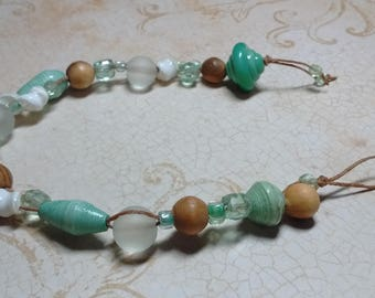 Sea Foam Green Beach Bracelet with Wood, Glass, Shell, Lampwork, and Paper Beads on Waxed Linen Cord