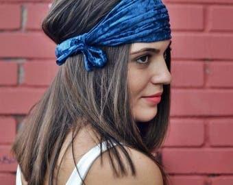 Elastic Velvet Turban, Teal Blue Headband, Running Headband, Yoga Headband, Boho Headband, Workout Headband, Womens Turban, Womens Headband