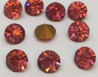Vintage Glass Round Light Rose Pink colour Faceted Glass Foiled Rhinestone chaton 5mm pointed back - 10 pieces Vintage Jewellery Supplies