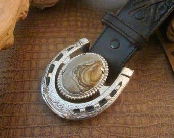 Vintage Owyhee Jasper Silver Tone Belt Buckle