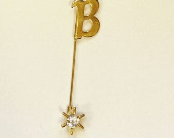 """Vintage """"B"""" Stick Pin in Gold Tone"""