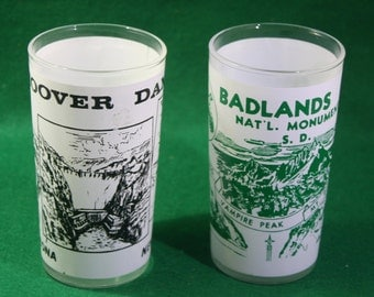 Pair of vintage Anchor Hocking frosted souvenir glasses Hoover Dam & Badlands Nat'l Monument SD -Barware/ Breweriana