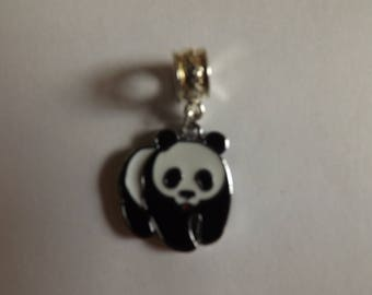 black and white panda Silver Pendant
