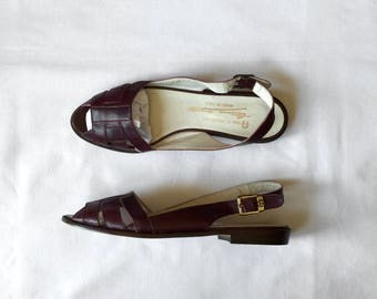 1970s Aigner oxblood leather sandals