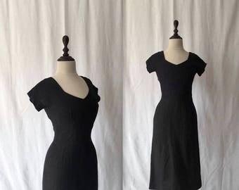1950s black linen wiggle dress