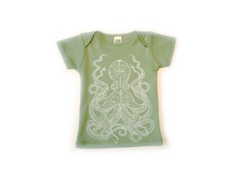 Octopus- Organic Lap over Tee-Unisex-Organic Cotton Royal Apparel-baby clothes-pacific northwest-octopi