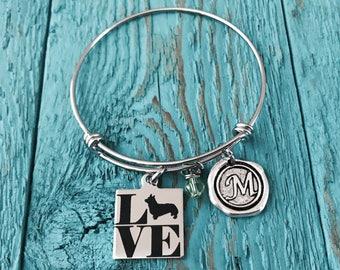 Corgi, I love my Corgi, Puppy, Corgi Mom, Silver Bracelet, Charm Bracelet, Corgi Gifts, Corgi Dog, Silver Jewelry, Corgi Bangle, Keepsake