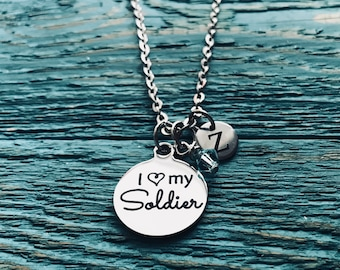 I love my soldier, Soldiers wife, ARMY, ARMY Wife, military wife, Heros wife, Gifts for, Silver Necklace, Charm Necklace, Army Jewelry