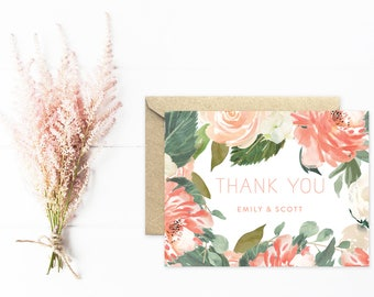 Thank You Cards, Watercolor Wedding Stationery, Peach Flowers