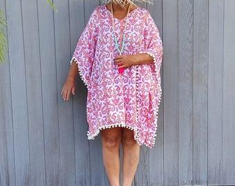 Pink Beach Kaftan cover up - Caftan dress short with pom poms  - Pink and coral tribal print rayon Boho summer Kaftan