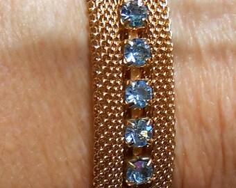 Vintage Sarah Coventry Star Lighter Set gold mesh blue topaz rhinestones