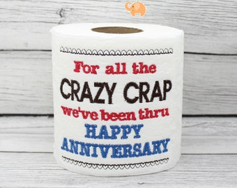 Happy Anniversary embroidered toilet paper, anniversary gift, newlywed gift, funny gag gift, white elephant, bathroom decorations, joke gift