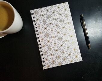 Gold Geometric Wirebound A5 Notebook - Wire Bound Journal Wire Bound Notebook Contact Book Art Journal Bullet Journal